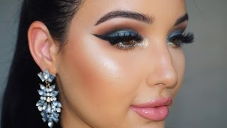 NikkieTutorials X TooFaced The Power of Makeup Tutorial  | Teal with a Pop of Glitter