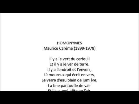 HOMONYMES (Maurice Carême)