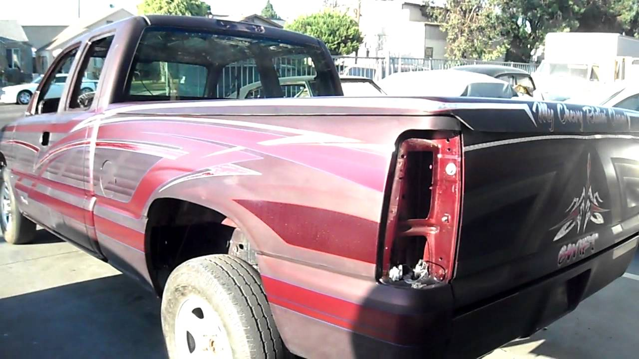 Chevy San Diego >> Curlys Pinstriping Burgundy Silverado Graphics - YouTube