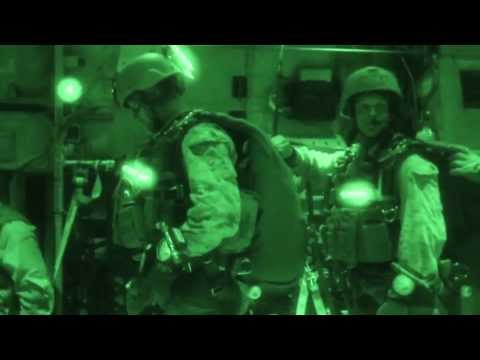 USMC Force Recon Platoon Conducts Night Parachute Operations Over Djibouti - Night Vision Jump