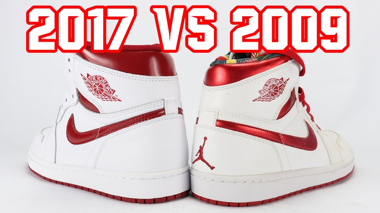 newest 8ad82 12b0a 2017 vs 2009 Air Jordan 1 Metallic Red Comparison (Sample)