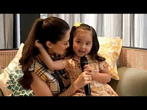 Pregnant Marian Rivera with very cute Zia Dantes at the press lunch of NIDO 3+