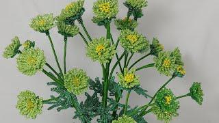 мастер класс хризантемы зеленые Цветы из бисера Art Beadwork