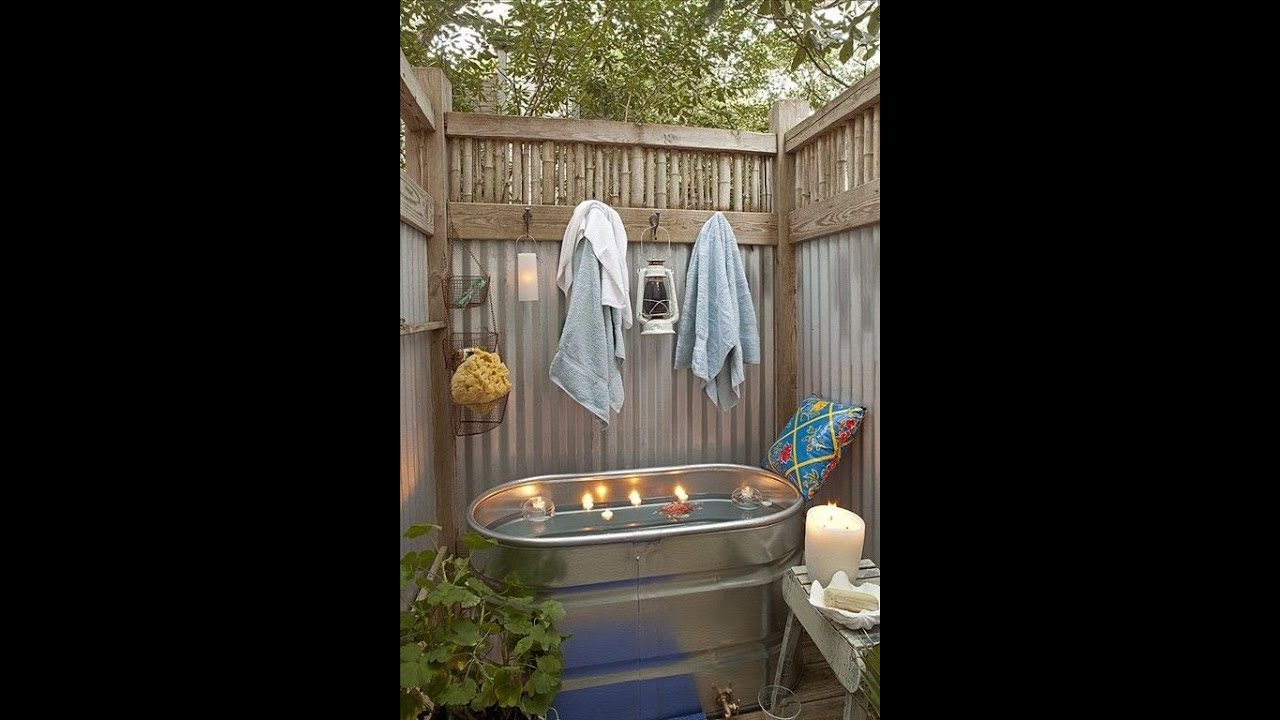 simple outdoor bath design idea how to youtube. Black Bedroom Furniture Sets. Home Design Ideas