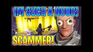 SAVAGE SCAMMER GETS SCAMMED FOR ALL HIS GUNS!! FORTNITE SAVE THE WORLD PVE
