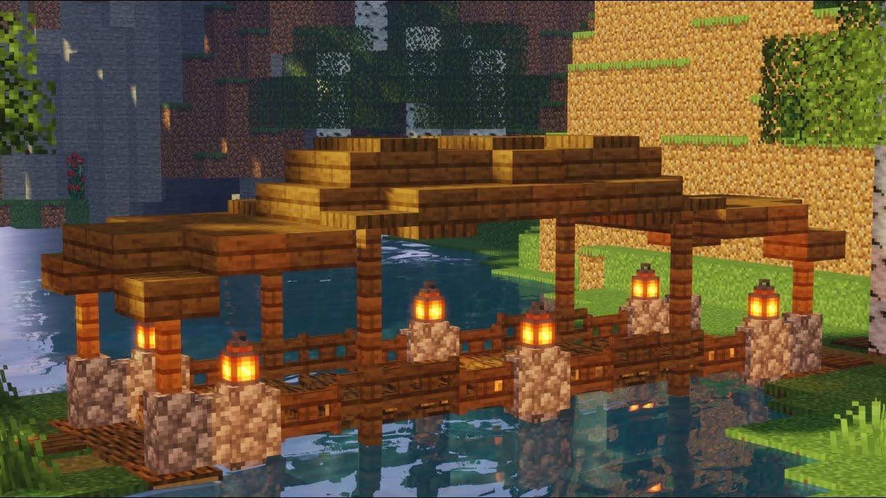 Minecraft Brücke bauen über Wasser Tutorial - mittelalterliche Brücke aus Holz in Minecraft bauen