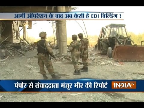 Jammu and Kashmir: Visuals of EDI Building After 58 Hour Long Pampore Encounter