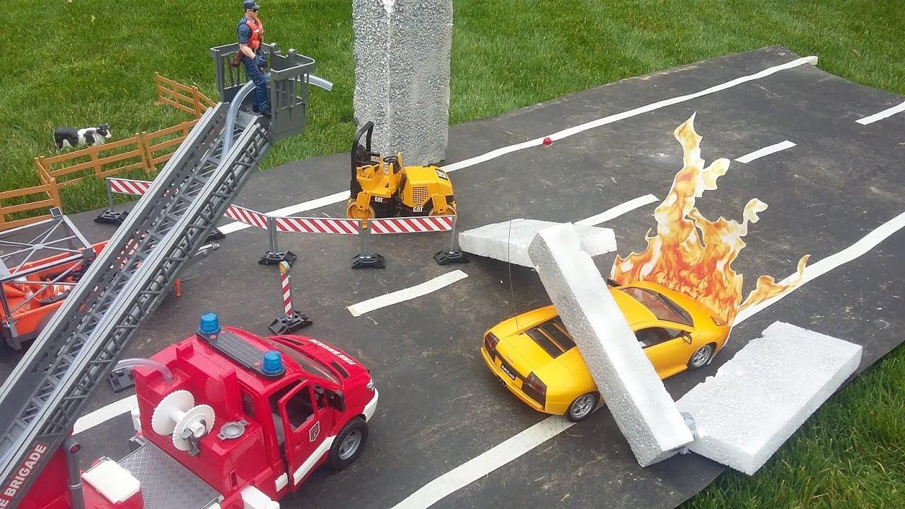 John Deere Gator Plow >> BRUDER TOYS FIRE RESCUE - FIRE TRUCK Mercedes, John Deere Gator, Mack Snow Plow - YouTube