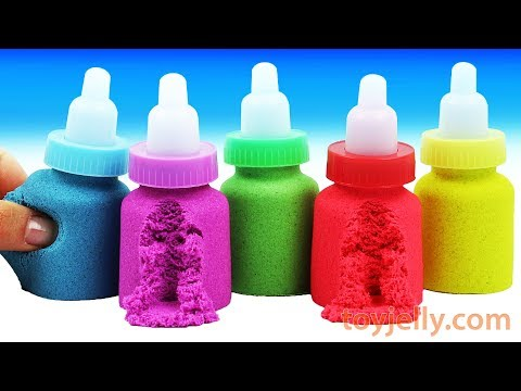 How To Make DIY Making Kinetic Sand Baby Milk Bottle Slime Ice Cream Learn Colors Play Doh for Kids