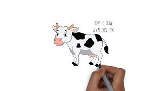 How to draw a Cartoon Cow - Cartooning for kids