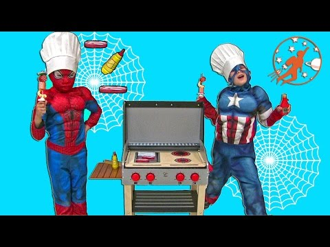 Toy Barbecue Grill Cooking Playset For Kids W/ Spiderman & Captain America!! Superhero BBQ Unboxing!