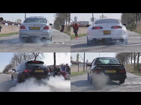 Cars Leaving Cars&Coffee Twente 2017! BRUTAL SOUNDS & BURNOUTS!