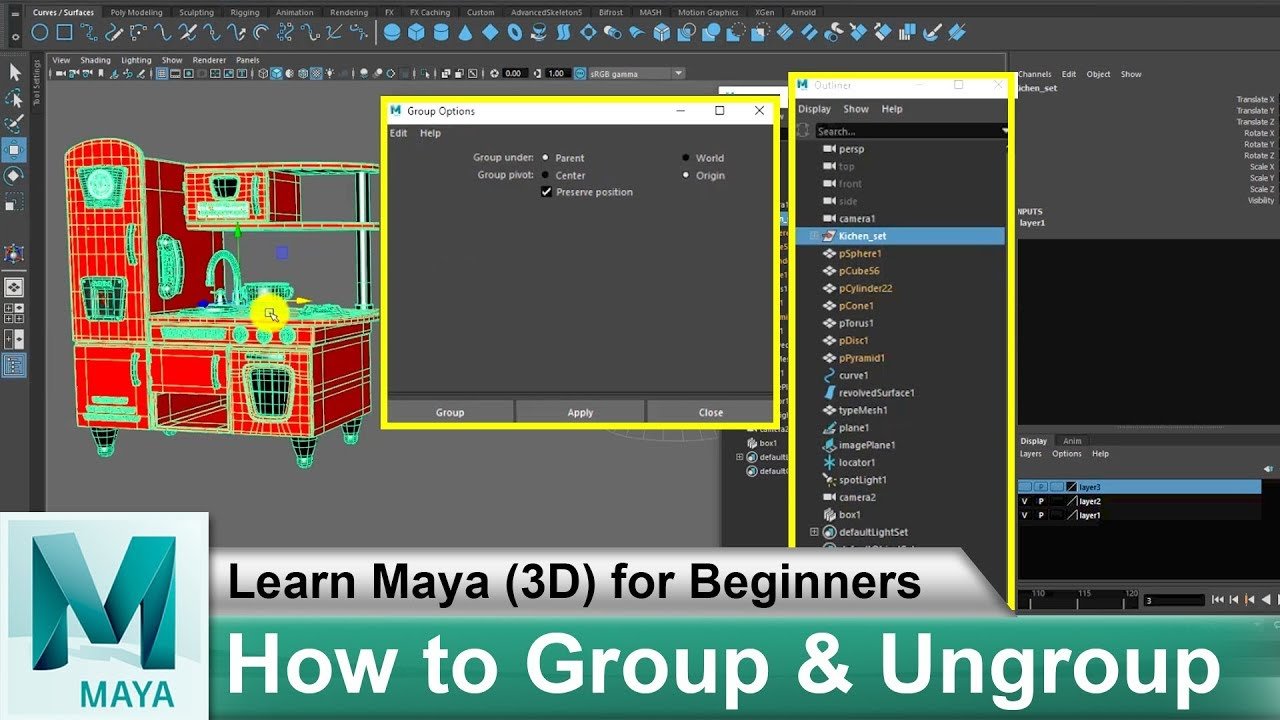 How to Group & Ungroup in Maya 2018   Learn Maya 3D Animation for Beginners  Tutorials #41