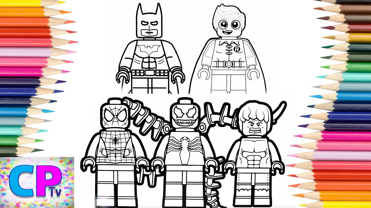 Lego Spiderman,Venom,Batman,Robin Coloring Pages,Superheroes Drawing,  Coloring Pages Tv