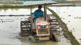 Máy cày kubota cày bừa ruộng | Nhạc thiếu nhi : Lớn lên cháu lái máy cày
