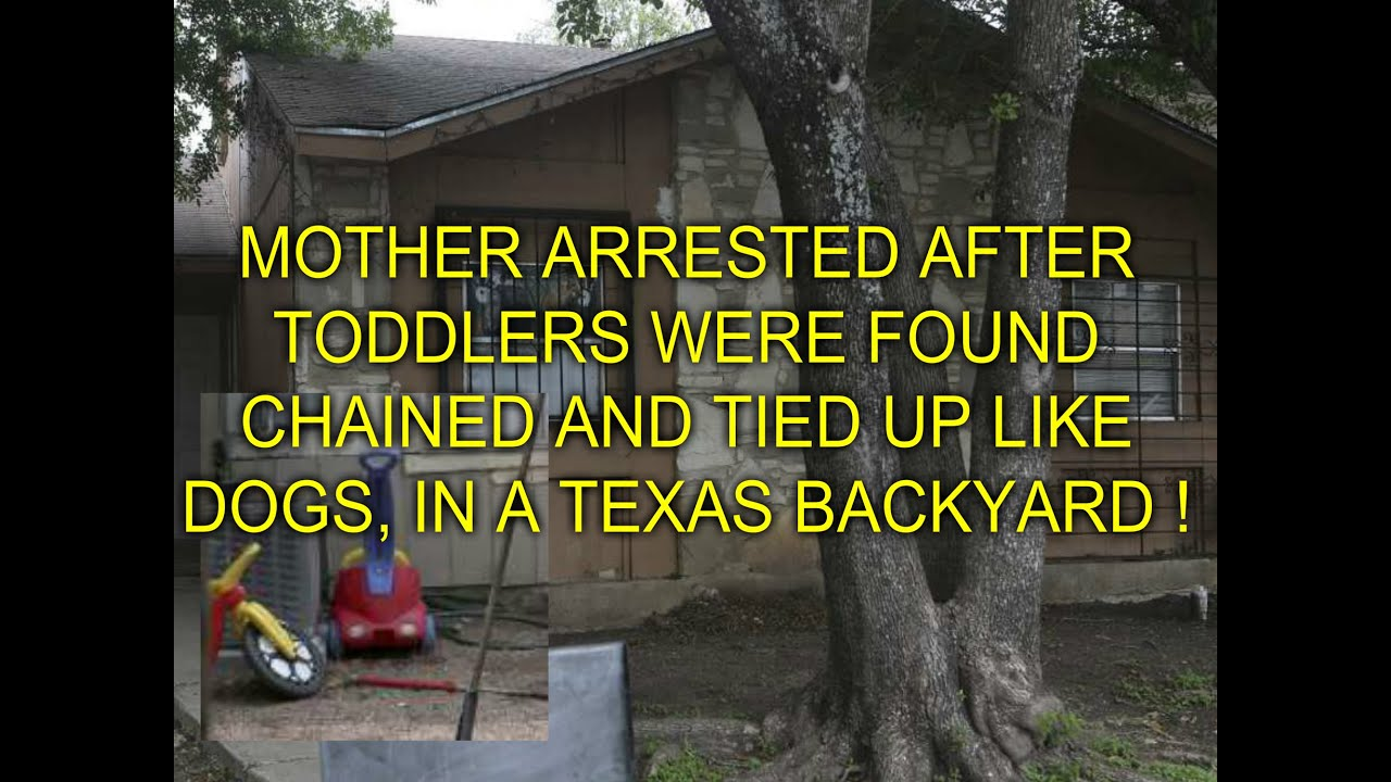 mother arrested after toddlers were found chained and tied up like