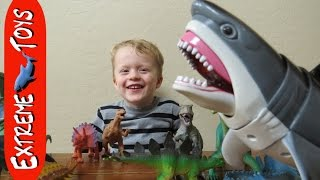 Great White Shark Toy helps Cole name the Dinosaur Toys.