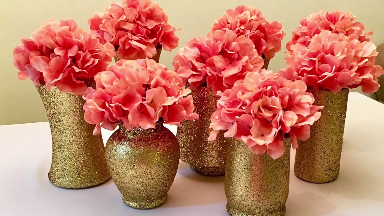 Diy gold glitter vases centerpieces youtube