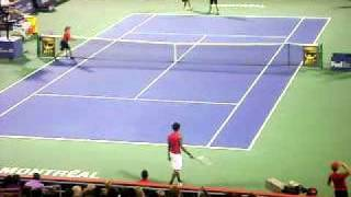 Gael Monfils having fun vs Novak Djokovic Montreal 2011