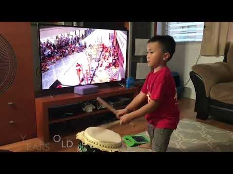 Aidan Lion Dance Drumming from 10 months old to 5 years old