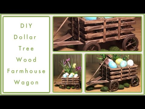 DIY Dollar Tree Farmhouse Wood Wagon - Farmhouse Rustic Room Decor