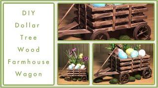DIY Dollar Tree Farmhouse Wood Wagon - Farmhouse Rustic Room Decor