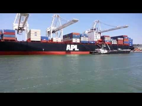 Ferry Ride View. Container Ship x 7. Shipping Cranes. Port of Oakland, CA. August 30, 2015.