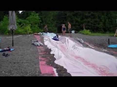 Homemade DIY 100' Water Slide - YouTube