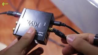 Bộ chuyển đổi âm thanh KA-02 kết nối giữa SmartTV và Amply để hát karaoke