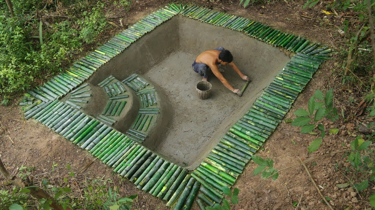 Build underground swimming pool and bamboo pool around for Build my pool