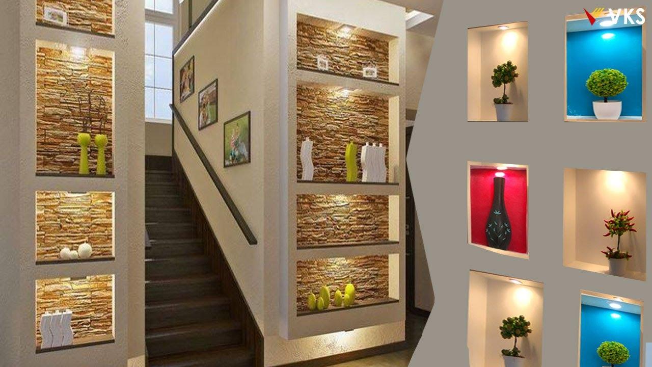 Modern Wall Niches Shelves Design Ideas Led Lights Wall Cube Shelves Wall Decor Recessed Light Youtube