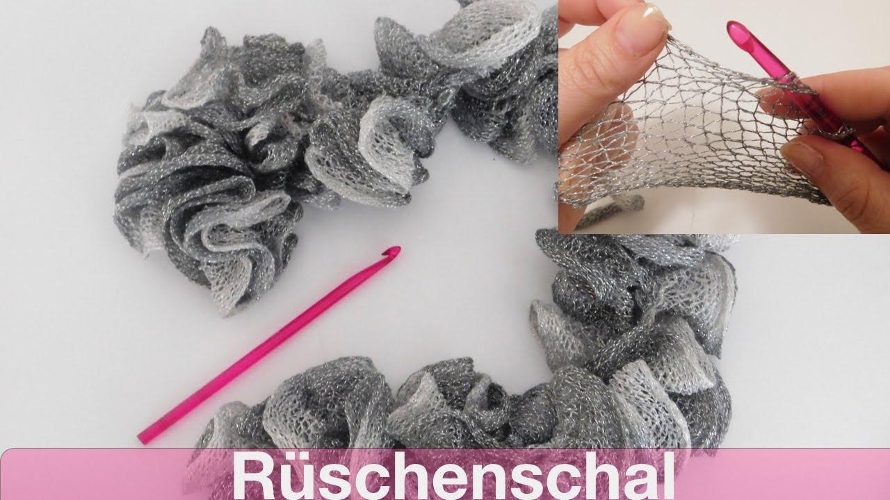 Glitzer Rüschenschal häkeln | SCHNELL und EINFACH - YouTube