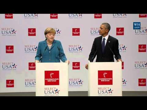 Obama & German Chancellor Merkel At Hannover Messe Trade Fair - Full Speech