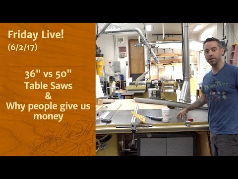 "36"" vs 50"" Tablesaws & Why People Give Us Money - Friday Live!"