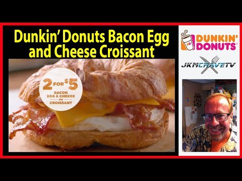 Dunkin' Donuts Bacon Egg & Cheese on Croissant Review | JKMCraveTV