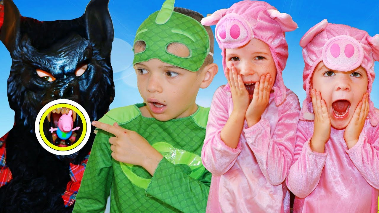 PJ Masks 3 Little Pigs Story with Big Bad Wolf & Gekko ...