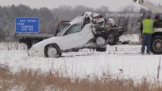 3/3/2015 Clearwater, MN Interstate 94 Crash Pile Up - B-Roll
