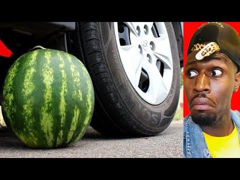 crushing-crunchy-&-soft-things-by-car!---experiment:-watermelon-vs-car