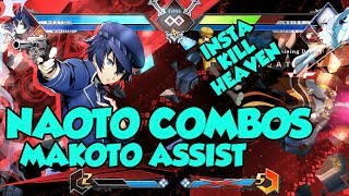 BBTAG Naoto combos with inputs (Makoto assist). Inputs are listed i...