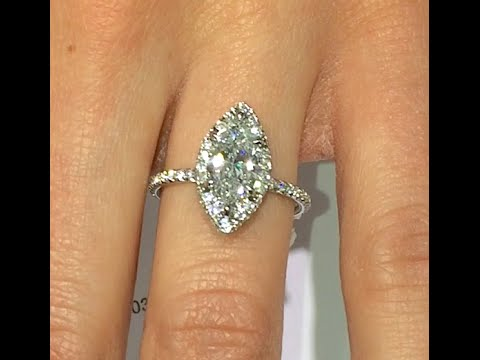 1.55 Ct Marquise Cut Diamond Engagement Ring In Halo