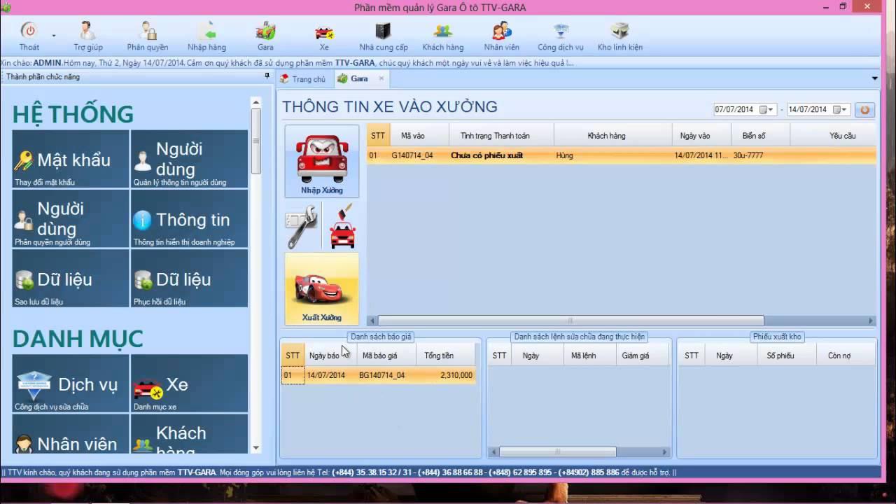 Hướng dẫn sử dụng phần mềm quản lý Gara Ôtô