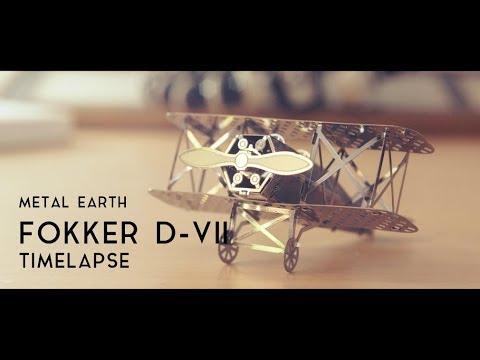 Fascinations Metal Earth Fokker D-VII Airplane 3D Metal Model Kit timelapse