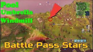 Fortnite:Battle Pass stars! Week 2 challenge! Pool,Umbrella and Windmill!