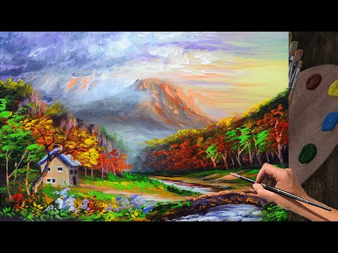 Acrylic Landscape Painting Tutorial with Bridge , House, Autumn Forest, and River During Sunset