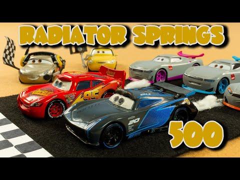 Radiator Springs 500 1/2 Disney Cars locker room backwards racing Lightning McQueen vs Jackson Storm