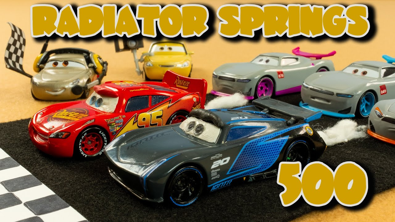 Radiator Springs 500 1/2 Disney Cars locker room backwards racing Lightning McQueen vs Jackson Storm