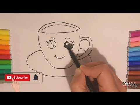 Drawing and Coloring a Cup of Chocolate Kawaii with true paper