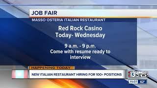 Italian restaurant hiring Red Rock hotel-casino