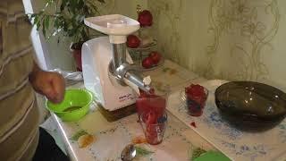 Приготовление томатного сока на электромясорубке АКСИОН М32