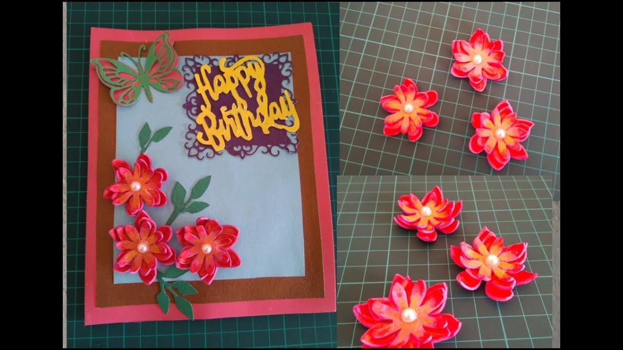 diy greeting card with handmade flowers birthday card